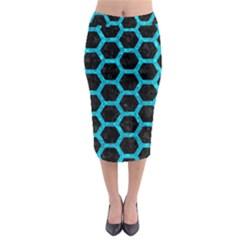 HXG2 BK-TQ MARBLE Midi Pencil Skirt