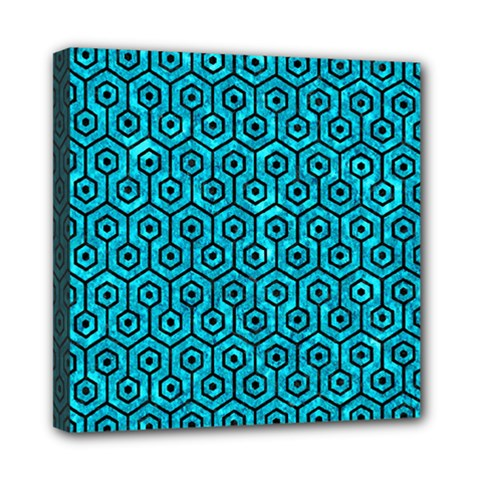 Hexagon1 Black Marble & Turquoise Marble (r) Mini Canvas 8  X 8  (stretched)