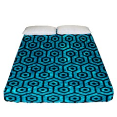 Hexagon1 Black Marble & Turquoise Marble (r) Fitted Sheet (queen Size)