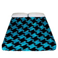 Houndstooth2 Black Marble & Turquoise Marble Fitted Sheet (queen Size)