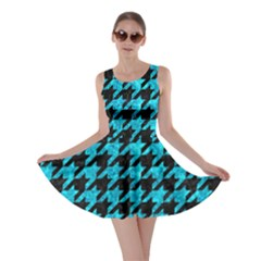 Houndstooth1 Black Marble & Turquoise Marble Skater Dress