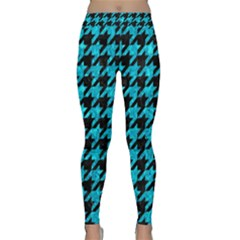 Houndstooth1 Black Marble & Turquoise Marble Classic Yoga Leggings