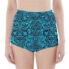 DMS2 BK-TQ MARBLE (R) High-Waisted Bikini Bottoms
