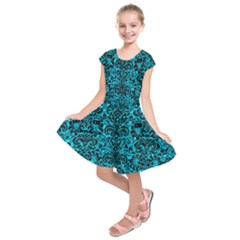 Damask2 Black Marble & Turquoise Marble (r) Kids  Short Sleeve Dress