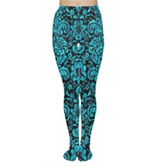 Damask2 Black Marble & Turquoise Marble Tights