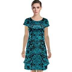 Damask2 Black Marble & Turquoise Marble Cap Sleeve Nightdress