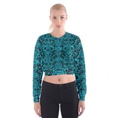 DMS2 BK-TQ MARBLE Women s Cropped Sweatshirt