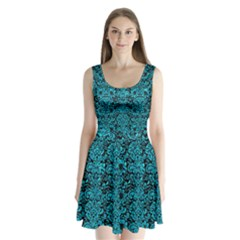 Damask2 Black Marble & Turquoise Marble Split Back Mini Dress