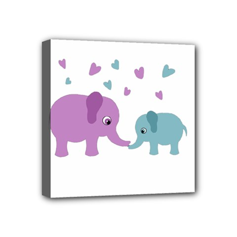 Elephant love Mini Canvas 4  x 4