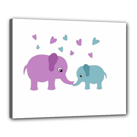 Elephant love Canvas 20  x 16