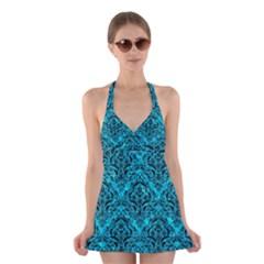 DMS1 BK-TQ MARBLE (R) Halter Swimsuit Dress