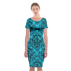 Damask1 Black Marble & Turquoise Marble (r) Classic Short Sleeve Midi Dress