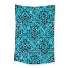 Damask1 Black Marble & Turquoise Marble (r) Small Tapestry