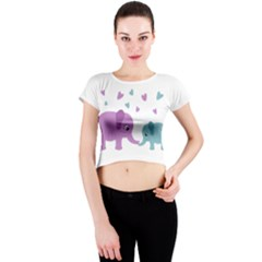 Elephant love Crew Neck Crop Top