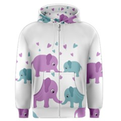 Elephant love Men s Zipper Hoodie