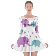 Elephant love Long Sleeve Skater Dress