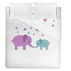 Elephant love Duvet Cover Double Side (Queen Size)