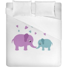 Elephant love Duvet Cover Double Side (California King Size)