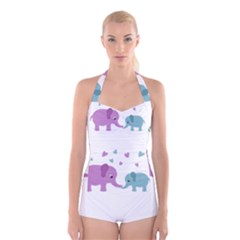 Elephant love Boyleg Halter Swimsuit