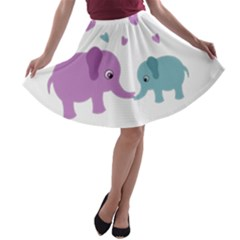 Elephant love A-line Skater Skirt