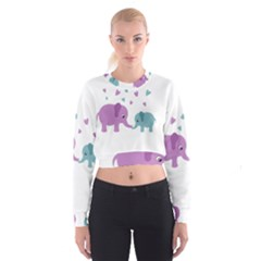 Elephant love Women s Cropped Sweatshirt