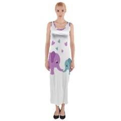 Elephant love Fitted Maxi Dress