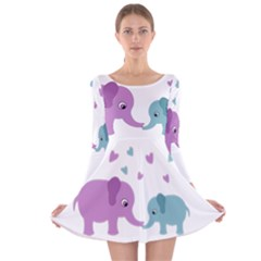 Elephant love Long Sleeve Velvet Skater Dress