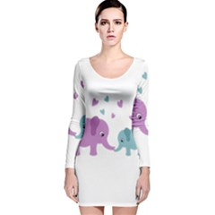 Elephant love Long Sleeve Velvet Bodycon Dress