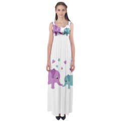 Elephant love Empire Waist Maxi Dress