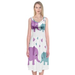 Elephant love Midi Sleeveless Dress