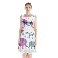 Elephant love Sleeveless Chiffon Waist Tie Dress