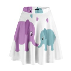 Elephant love High Waist Skirt