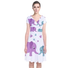 Elephant love Short Sleeve Front Wrap Dress
