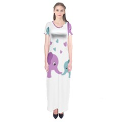 Elephant love Short Sleeve Maxi Dress