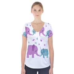 Elephant love Short Sleeve Front Detail Top