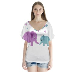 Elephant love Flutter Sleeve Top