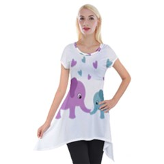 Elephant love Short Sleeve Side Drop Tunic