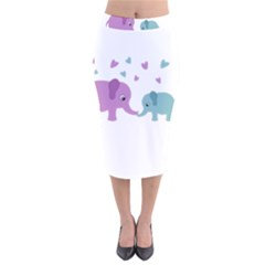 Elephant love Velvet Midi Pencil Skirt