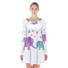 Elephant love Long Sleeve Velvet V-neck Dress