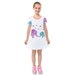 Elephant love Kids  Short Sleeve Velvet Dress