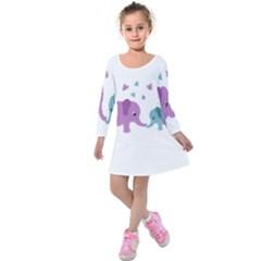 Elephant love Kids  Long Sleeve Velvet Dress