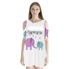 Elephant love Shoulder Cutout Velvet  One Piece