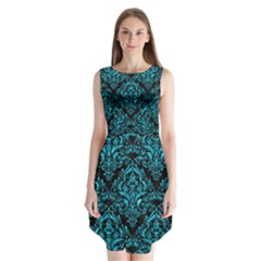Damask1 Black Marble & Turquoise Marble Sleeveless Chiffon Dress