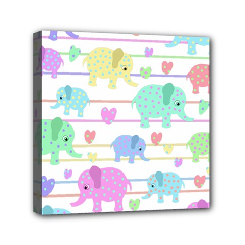 Elephant pastel pattern Mini Canvas 6  x 6