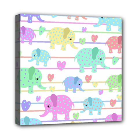 Elephant pastel pattern Mini Canvas 8  x 8