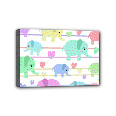 Elephant pastel pattern Mini Canvas 6  x 4