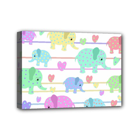 Elephant pastel pattern Mini Canvas 7  x 5
