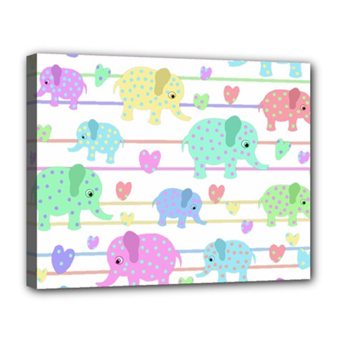 Elephant pastel pattern Canvas 14  x 11