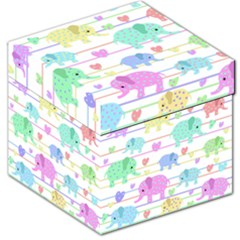 Elephant pastel pattern Storage Stool 12