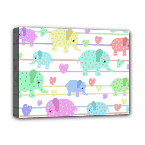 Elephant pastel pattern Deluxe Canvas 16  x 12